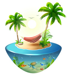 striped hammock between palm trees on tropical vector image