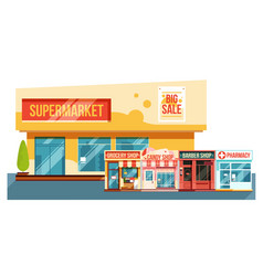 supermarket and small magazines cityscape flat vector image vector image
