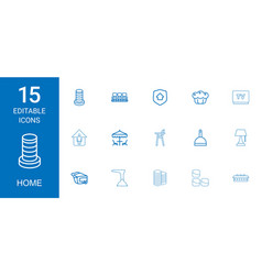 15 home icons vector image