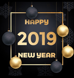 2019 happy new year golden decoration card vector image