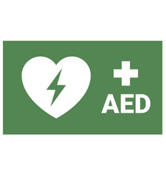 Aed emergency first aid defibrillator sign vector