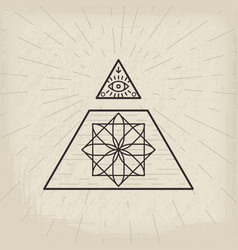 All seeing eye vintage background vector