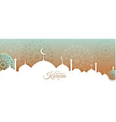 Arabic style ramadan kareem or eid mubarak banner vector
