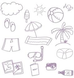 Beach set doodle vector
