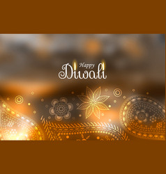 Beautiful diwali greeting background with paisley vector