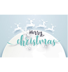 big moon and reindeer with merry christmas text vector image