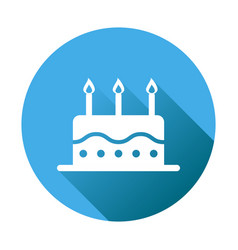 Birthday cake flat icon fresh pie muffin on blue vector