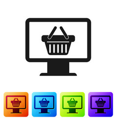 black computer monitor with shopping basket icon vector image