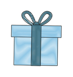 blue gift box wrapped ribbon bow decoration vector image