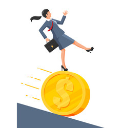 Businesswoman running away from big debt coin vector
