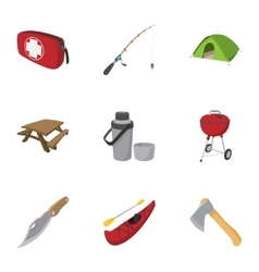 Campground icons set cartoon style vector