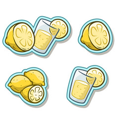 Cartoon glass with lemonade and lemon sticker icon vector