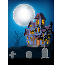Cartoon haunted house with halloween background vector