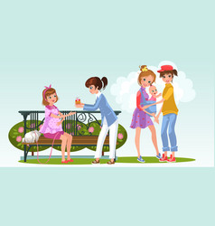 Cartoon pregnant woman with lesbian lover in park vector
