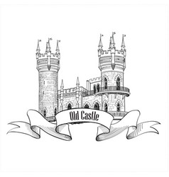 castle logo retro building label vector image