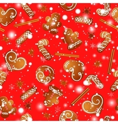 Christmas design with gingerbread man hearts vector image