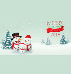 christmas snowman family banner design vector image