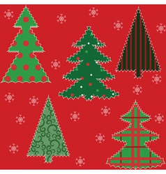 Christmas trees and snowflakes vector