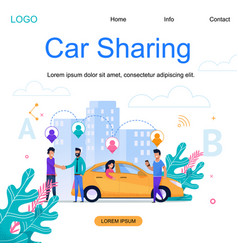City car sharing square banner town cab business vector