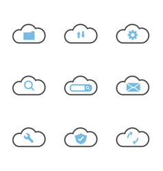 cloud technology system simple flat icons vector image