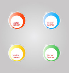 colored round glass banners on gray background vector image
