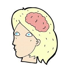 Comic cartoon female head with brain symbol vector