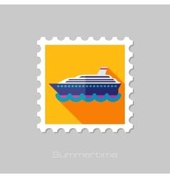 Cruise transatlantic liner ship flat stamp vector image