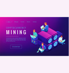 Cryptocyrrency mining landing page vector