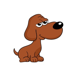 Cute brown dog cartoon - isolated vector image