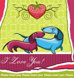 dachshunds valentines card vector image