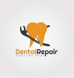 Dental repair logo designhuman tooth icon vector