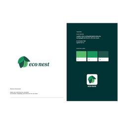 Eco nest logo template design vector