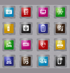 Electronic repair glass icons set vector
