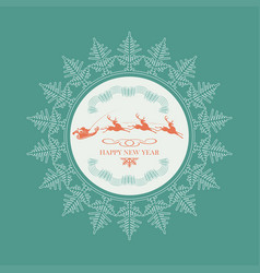 Emblem of santa claus on running reindeers inside vector