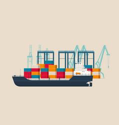 Empty cargo ship in container terminal vector