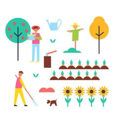Farm farming people icons vector