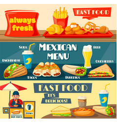 Fast food restaurant menu flat banners vector