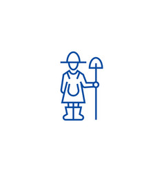 female farmer with shovel line icon concept vector image