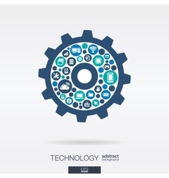 flat icons in cogwheel shape technology cloud vector image