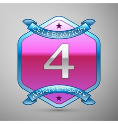 Four years anniversary celebration silver logo vector