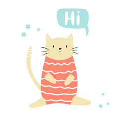 funny cat sitting in a swimming costume lettering vector image