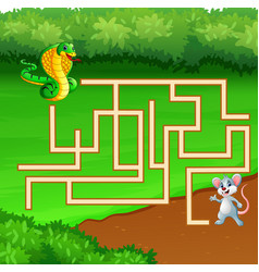 Game snake maze find way to the mouse vector