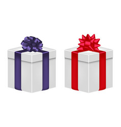 gift box with ribbon and bow in violet and red vector image