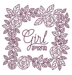 girl power label with roses frame icons vector image
