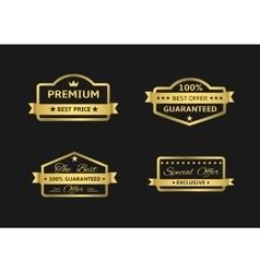 Golden premium labels vector