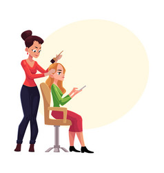 Hairdresser dying long hair blond woman who vector