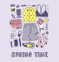 Hand drawn spring fashion wear and text actual vector