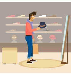 Handsome guy is doing shopping vector