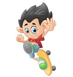 Happy Cartoon Skateboard Boy vector