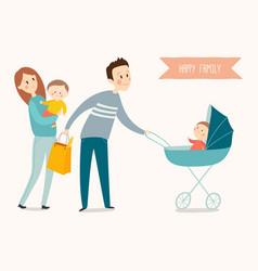 happy family poster cartoon eps 10 vector image